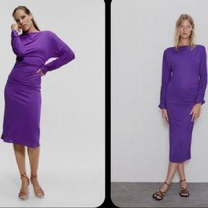 NWT ZARA Purple Wide Neckline Midi Dress 💜